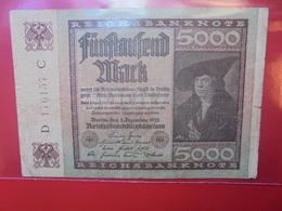 Reichsbanknote 5000 MARK 1922 CIRCULER - 5000 Mark