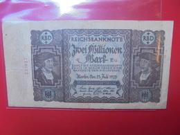 Reichsbanknote 2 MILLIONEN MARK 1923 CIRCULER - [ 3] 1918-1933 : Weimar Republic