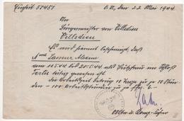 WW2 - Villedieu-lès-Bailleul (Orne) - Château De Tertu. Courrier Allemand Pour Le Travail De Mme A. L. 22/05/44 - Documents Historiques