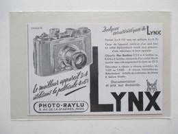 Théme Appareil Photo & Camera - Modèle LYNX Objectif Flor Berthiot   - Ancienne Coupure De Presse - Appareils Photo