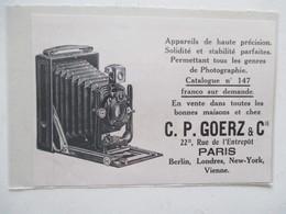Théme Appareil Photo & Camera - Modèle  Carl Paul Goerz  & Cie - Ancienne Coupure De Presse 1909 - Projecteurs De Films