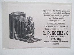 Théme Appareil Photo & Camera - Modèle  Carl Paul Goerz  & Cie - Ancienne Coupure De Presse 1909 - Filmkameras - Filmprojektoren