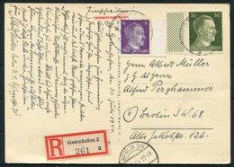 1944 Germany Gdynia Danzig, Adolf Hitler Platz Postcard. Registered Einscreiben - Berlin. - Covers & Documents