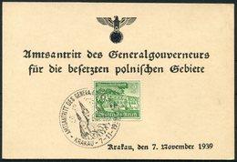 Germany DR Poland Krakau WHW Amtsantritt Des Generalgouverneurs Krakau 7.11.1939 Sonderstempel - Deutschland