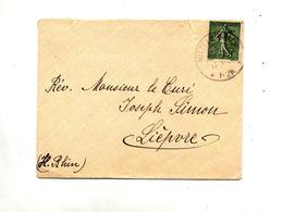 Lettre Cachet Mittelmuspach Sur Semeuse Muespach - Postmark Collection (Covers)