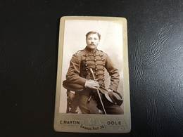 CDV  PHOTO Soldat Cavalier 7e Dragon Ou Cuirassier Avec Sabre - E. MARTIN - Dole - Guerre, Militaire