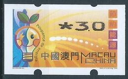 MACAU ENERGY SAVING 2002 ATM LABELS ERROR PRINT - 3.00PAT THIN TOP - 1999-... Chinese Admnistrative Region