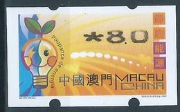 MACAU ENERGY SAVING 2002 ATM LABELS ERROR PRINT - 8.00PAT THIN TOP - 1999-... Chinese Admnistrative Region
