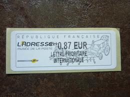 2010  LISA2  L'adresse Musée De La Poste  LETTRE PRIORITAIRE INTERNATIONALE  0,87€ (vendue à La Faciale) ** MNH - 2010-... Illustrated Franking Labels