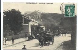 CHERBOURG - La GARE - Attelage - Belle Carte - P.B. éditeur (1908) - Cherbourg