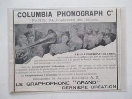 GRAPHOPHONE COLUMBIA Ets Columbia Phonograph & Cie - Coupure De Presse De 1899 - 78 T - Disques Pour Gramophone