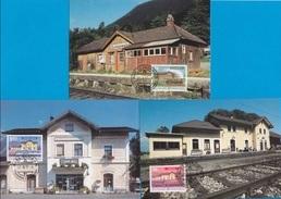 Liechtenstein 1997: Bahnhof Schaanwald - Nendeln - Schaan Zu 1097-99 Mi 1155-57 Yv 1096-98 (MK-Set Nr.152) - Treni