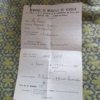 WW1 French Paper For Award Of Verdun Medal - 1914-18