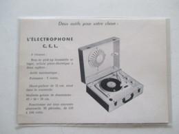 Electrophone Tourne Disque CEL   - Coupure De Presse De 1959 - 78 T - Disques Pour Gramophone