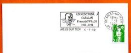 66 ARLES SUR TECH   FRANCOIS PUJADE   1990 Lettre Entière N° BC 294 - Poststempel (Briefe)