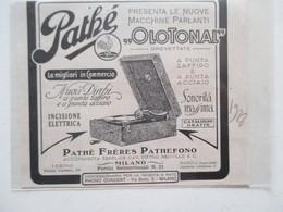 """Gramophone Tourne Disque 78 T  """"Pathé Frères """" PATHEFONO Milano  - Coupure De Presse Italienne De 1928 - 78 T - Disques Pour Gramophone"""