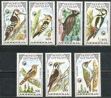 Mongolia 1987 Set 7 V MNH Birds Bird Oiseaux Oiseau Woodpecker Woodpeckers Pics Pic - Specht- & Bartvögel