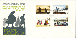 Tristan Da Cunha FDC 10-11-1973  10th Anniversary Of Return To The Islands Complete Set Of 4 With Cachet - Tristan Da Cunha
