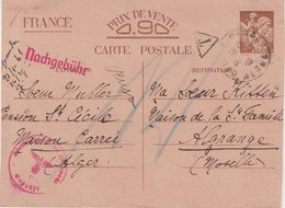 FRANCE : CP . GUERRE . 0.90 F . TYPE IRIS . D'ALGERIE . POUR LA MOSELLE . CENSUREE . REFUSEE . 1940 . ENTIER POSTAL . - Marcophilie (Lettres)