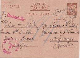 FRANCE : CP . GUERRE . 0.90 F . TYPE IRIS . D'ALGERIE . POUR LA MOSELLE . CENSUREE . REFUSEE . 1940 . ENTIER POSTAL . - Postmark Collection (Covers)