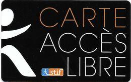 TICKET BILLET CARTE TRANSPORT TRAMWAY CARTE ACCÈS LIBRE  STIF PARIS SUR LIGNE T8 12 / 2014 - Tramways