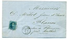 Belgique - COB15 Sur Pli De Verviers à Flavion Cachet D'arrivée à Anthée 5 Jul 1863 - 1863-1864 Medaillen (13/16)