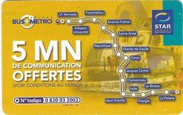 CARTE  COMMUNICATIONS TÉLÉPHONIQUE KERTEL  OFFERTE PAR LA STAR TRANSPORTS BUS METRO RENNES 35 ILLE ET VILAINE - Francia
