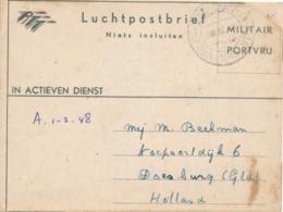 Nederlands Indië - 1948 - Portvrij Luchtpostblad Van Veldpost Soerabaja/2 Naar Doesburg / Nederland - India Holandeses