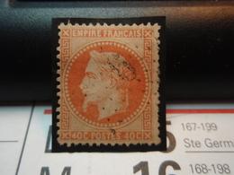 Timbre Empire Français Napoléon III, Lauré, 40 C. Orange.  Oblitéré. Sur Support Avec Charnière - Chiffre 9 Ou 6. - 1863-1870 Napoléon III Lauré
