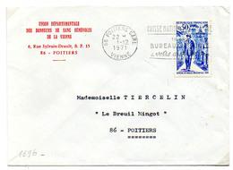 France N° 1696 Y. Et T. Vienne Poitiers Gare Flamme Illustrée Du 01/12/1971 Sur Lettre - Postmark Collection (Covers)