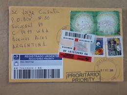 Enveloppe Brésilienne Diffusée En Argentine Avec Beaucoup De Timbres 2009 - Brésil