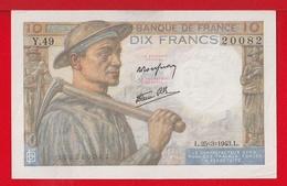 """BILLET DE 10 FRANCS """" MINEUR """" DU 25-6-1943  Y.49 - 10 F 1941-1949 ''Mineur''"""