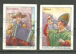 LOT 2 CHROMOS CHOCOLAT AIGUEBELLE / INSTRUMENTS DE MUSIQUE ACCORDEON ET OLIFANT - Aiguebelle
