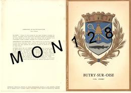 BUTRY SUR OISE (95)  CARTE DOUBLE ARMOIRIES - HERALDISTES R. Et M. LOUIS - Butry