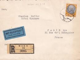 Env Recommandée Par Avion T.P. Ob Wien15 VII 38, Env Pour Paris 10ème - Allemagne