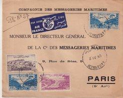 """LIBAN : DE LA CMM . DE """" BEYROUTH """" PA . AIR FRANCE . POUR PARIS . 1949 . - Líbano"""