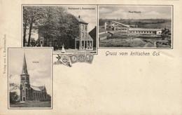 RPCP : Gruss Vom Kritischen Eck - Kelmis, Neutral Moresnet - Restaurant L. Radermacher, Photo Of Old Postcard, 2 Scans - Orte