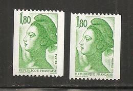 France, Roulette, 2378a, 2378b, Type A Et B, Neuf **, TTB, Liberté De Gandon - 1982-90 Liberté De Gandon