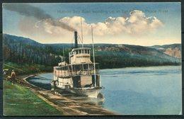1911 Hudson Bay Boat Wooding Up At Tar Island, Peace River Postcard. Alberta Canada Ship - Alberta