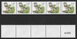 België/Belgique 1997 - R83xx Matkop Strook Van 5 Met 5 Cijfers/Mésange Boréale Bande De 5 Avec 5 Chiffres. - Coil Stamps