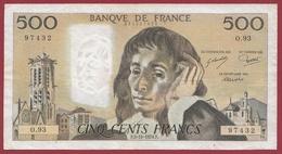 """500 Francs """"Pascal""""--du 05/10/1978.F----F/TTB+---ALPH..O.93 - 1962-1997 ''Francs''"""