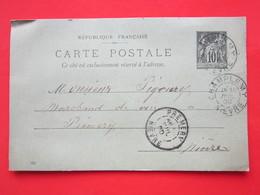 Cpa -Timbre Entier Type SAGE 10 Noir écrite SAVARD MENUISIER à CHAMPLEMY 58) Oblitéré CHAMPLEMY & PREMERY 58) 30/07/1900 - Ganzsachen