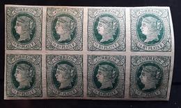 ANTILLAS ESPANOLES, 1864 , BLOC DE 8 Yvert No 14, 1/2 R Vert / Chamois , Neuf ** MNH,  TB - España