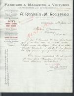 FACTURE DE 1928 A RONSIN & M ROUSSEAU AUTOMOBILES ARIÈS PANHARD ECT MEAUX : - Automobilismo