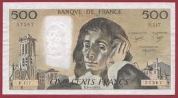 """500 Francs """"Pascal""""--du 03/04/1980.K----VF/SUP---ALPH..P.117 - 1962-1997 ''Francs''"""