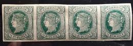 ANTILLAS ESPANOLES, 1864 , Bande  De 4 Yvert No 14, 1/2 R Vert / Chamois , Neuf ** / * MNH, / MH   TB - España