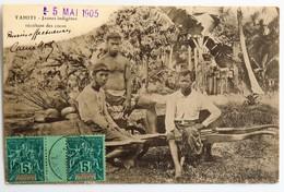 C. P. A. : TAHITI : Jeunes Indigènes Récoltant Des Cocos, Timbre En 1905, RARE - Tahiti