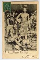 """C. P. A. : TAHITI : Indigènes Préparant Leur Repas, 1904, Tampon De """"Camille PETITHORY"""" Directeur Ecole Primaire Papeete - Tahiti"""
