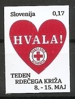 SLOVENIA 2019,RED CROSS,RED CROSS WEEK,HVALA,HEART,,THANKS,ADHESIV,SELBSTICK,MNH - Eslovenia