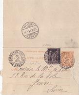 20455# CARTE LETTRE MOUCHON + SAGE Obl ST GERMAINMONT ARDENNES 1901 Pour GENEVE SUISSE - 1877-1920: Période Semi Moderne